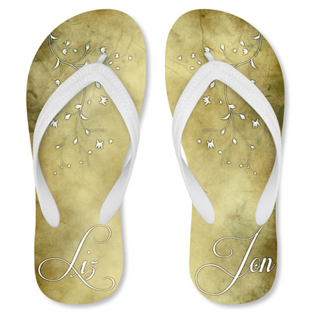 custom just married flip flops
