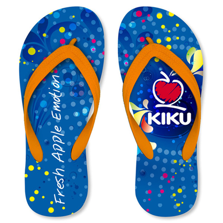 Promotional flip flops with logo